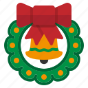 christmas, green, ornament, wreath, xmas icon