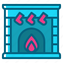 chimney, christmas, cozy, fireplace, socks icon