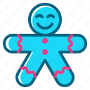 christmas, cookie, gingerbread, gingerbreadman, man icon