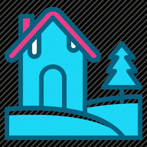 christmas, decoration, house, snow, tree icon