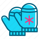 christmas, glove, mitten, snow, winter icon