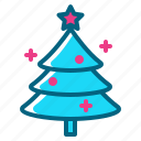 ball, christmas, decorated, pine, star, tree icon