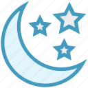 christmas, decoration, moon, night party, stars icon