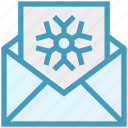 card, christmas, envelope, letter, snowflake icon