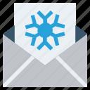 card, christmas, envelope, letter, snowflake icon
