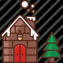 christmas, house, tree