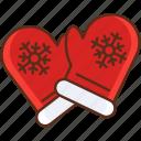 mittens, snowflake, winter icon