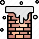 chimney, fire, fireplace, home, house, real, snow icon
