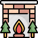 christmas, decoration, fireplace, holiday, tree, vacation, xmas icon