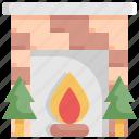 christmas, decoration, fireplace, holiday, snow, tree, xmas