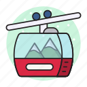 chairlift, ropeway, tour, transport, travel icon