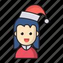 beanie, child, christmas, girl, kid icon