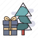 christmas, surprise, present, gift, tree icon