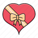 christmas, gift, heart, love, ribbon icon