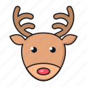 animal, christmas, deer, face, reindeer