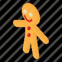 brown, food, gingerbread, isometric, man, object, sweet