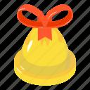 bell, bow, celebration, christmas, decoration, isometric, object