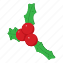 berry, christmas, decoration, green, holly, isometric, object