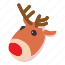 animal, antler, christmas, deer, isometric, object, reindeer