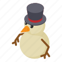 christmas, happy, holiday, isometric, object, snow, snowman