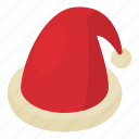 cap, christmas, claus, decoration, hat, isometric, object