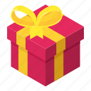 box, christmas, gift, holiday, isometric, object, present