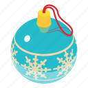 ball, christmas, decoration, isometric, object, red, xmas