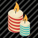 candle, celebration, christmas, decoration, holiday, isometric, object