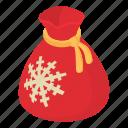 bag, christmas, full, gift, isometric, object, sack
