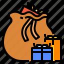 bag, claus, giftbox, sack, santa
