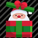 christmas, claus, box, holiday, santa, winter, gift