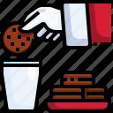 cookies, milk, christmas, breakfast, food