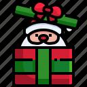 holiday, winter, santa, christmas, claus, gift, box
