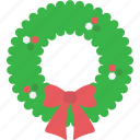 christmas, garland, greeting, wreath, xmas icon