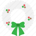 christmas, garland, greeting, snow, winter, wreath, xmas icon