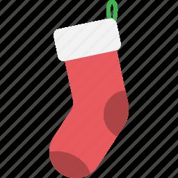 christmas, decoration, gift, present, sock, xmas icon