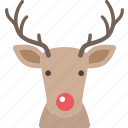 christmas, deer, nose, red, reindeer, santa icon