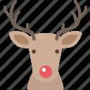christmas, deer, nose, red, reindeer, santa