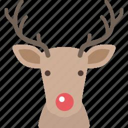 christmas, deer, nose, red, reindeer, santa icon