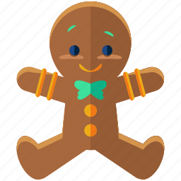 christmas, cookie, food, gingerbread, holiday, man, season icon