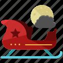 christmas, holiday, moon, night, santa, season, sleigh icon