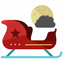 christmas, holiday, moon, night, santa, season, sleigh icon