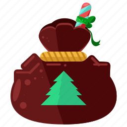 bag, christmas, delivery, holiday, presents, santa, season icon