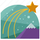 christmas, holiday, mountain, season, shooting, star icon