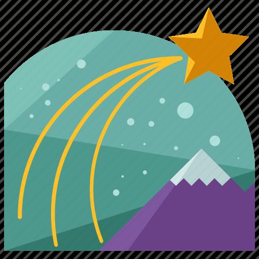christmas, holiday, mountain, season, shooting, star icon