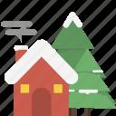 christmas, home, winter icon