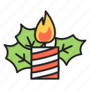 candle, christmas, decoration, mistletoe, xmas icon