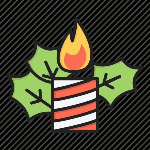candle, christmas, decoration, mistletoe, xmas icon
