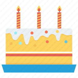 anniversary, birthday, cake, candles, celebration, dessert, party icon icon