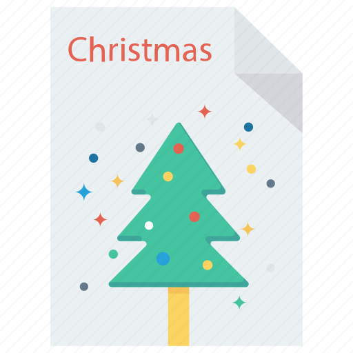 christmas, document, greeting card, letter, paper icon